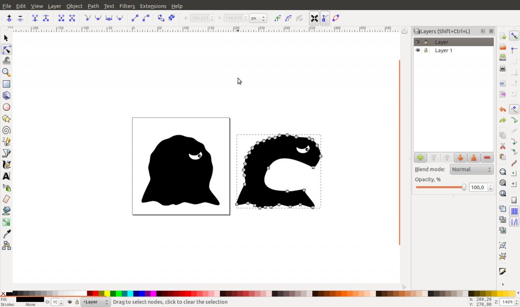 Modelling Gishus Maximus using Inkscape