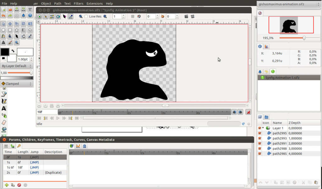 Animating Gishus Maxumis using Synfig